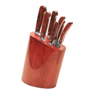 BergHOFF messenblok 7-delig donkerrood hout kookmania prijstechnisch