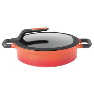Berghoff braadpan met deksel en hittebestendige handvaten oranje 28 cm Gem