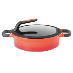 Berghoff braadpan met deksel en hittebestendige handvaten oranje 26 cm Gem